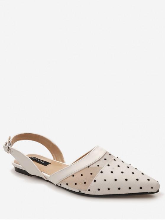 women's Polka Dot Pointed Toe Flat Sandals - WHITE EU 37
