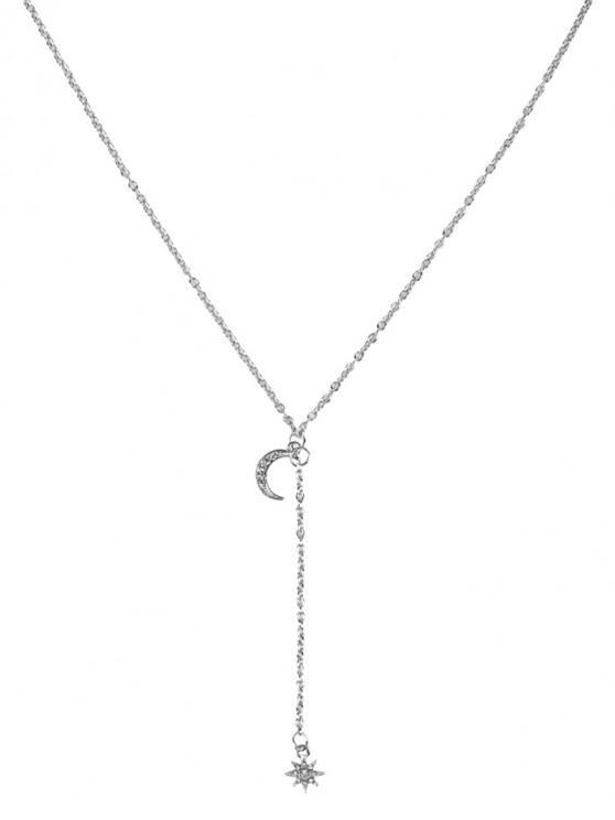 hot Full Rhinestone Moon Star Necklace - SILVER