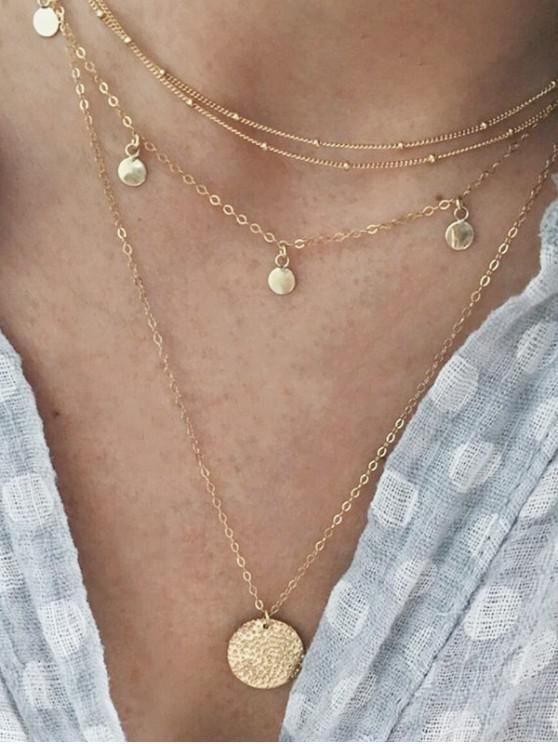 Collar de Cadena de Disco en Capas - Oro