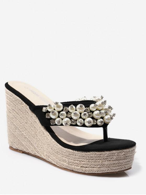 buy Faux Pearl Wedge Heel Thong Slides - BLACK EU 39