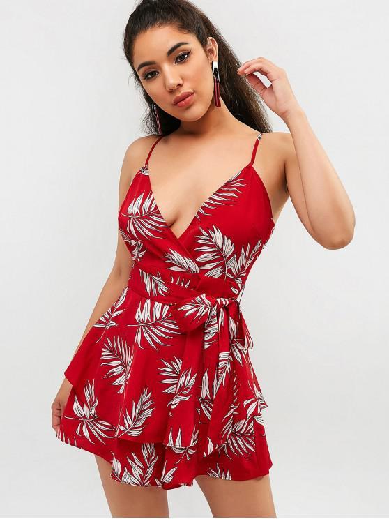 fashion ZAFUL Leaf Belted Cami Wide Leg Romper - CHERRY RED S