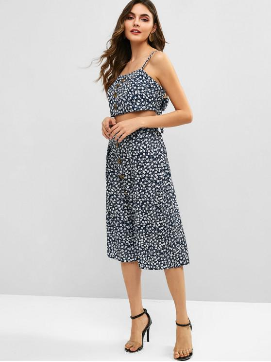 shops ZAFUL Floral Print Cami Top and Buttoned Skirt Set - DEEP BLUE M