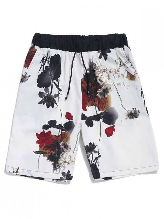 hot Flowers Ink Painting Print Beach Shorts - WHITE M