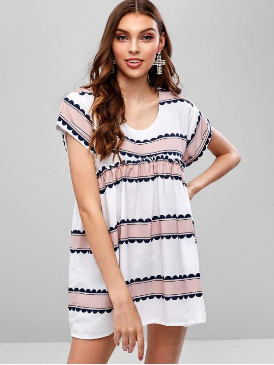online Casual Stripes Tunic Dress - WHITE S