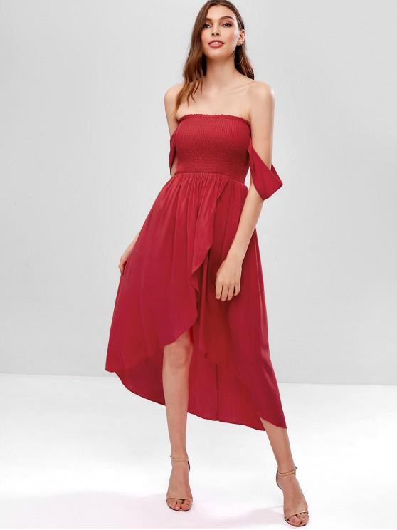 buy Smocked Off Shoulder Asymmetrical Dress - RED M