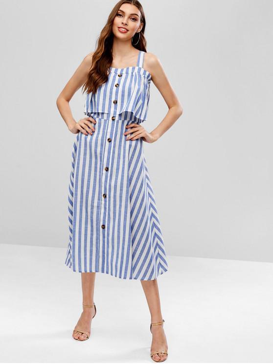 women's Buttoned Overlap Stripes Midi Dress - BLUE L