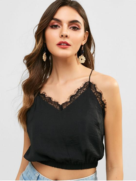 chic ZAFUL Eyelash Lace Panel Cami Top - BLACK S