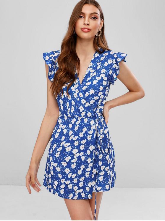 unique Ruffled Floral Mini Wrap Dress - BLUE S