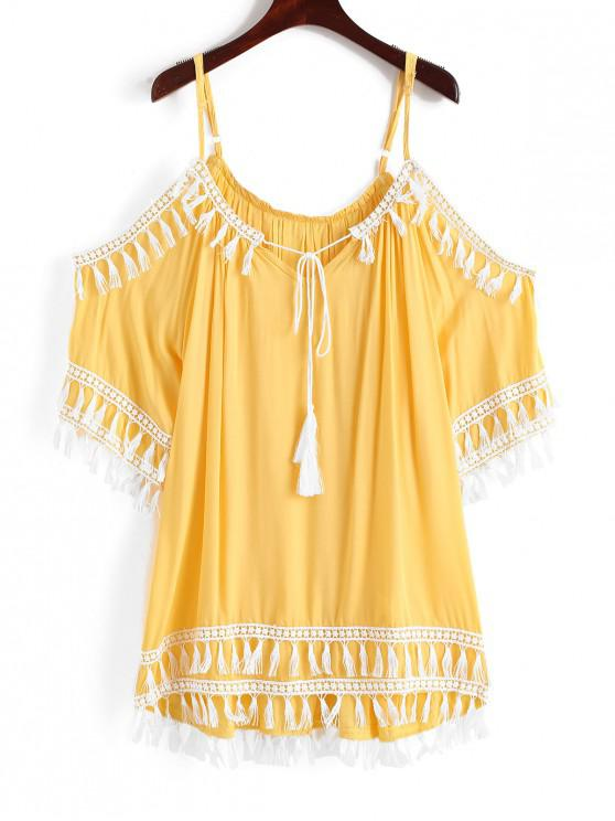 affordable Cold Shoulder Tassel Tunic Beach Dress - RUBBER DUCKY YELLOW M