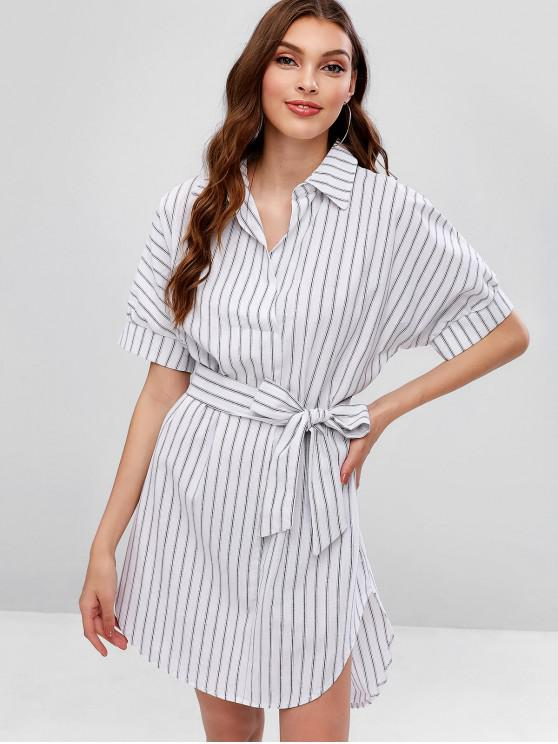 d27e2146c 35% OFF] 2019 Belted Stripes High Low Casual Dress In WHITE | ZAFUL