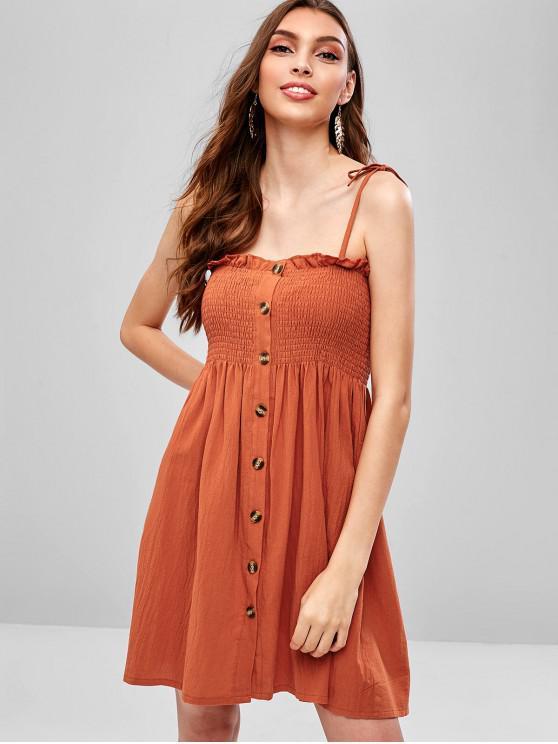 sale Tied Straps Button Up Smocked Cami Dress - ORANGE SALMON M