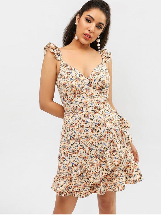new ZAFUL Floral Ruffle Mini Dress - APRICOT L