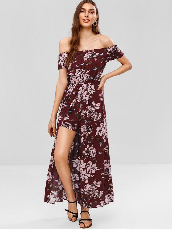 52c6dbcff69 27% OFF  2019 Overlap Off Shoulder Floral Maxi Romper In RED WINE ...