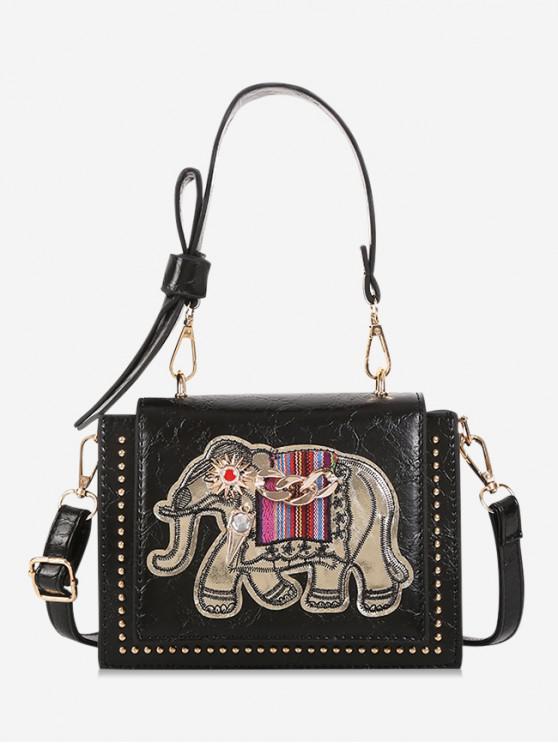 unique Elephant Print Bowknot Decorated Shoulder Bag - BLACK