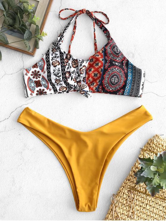 Bikini con motivo floreale annodato con motivo floreale ZAFUL - Multi Colori-A M