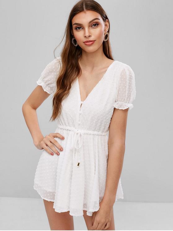 shop Drawstring Textured Half Buttoned Romper - WHITE L