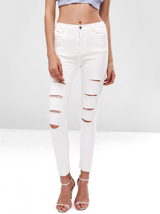 outfit Ripped Zipper Fly Raw Hem Jeans - WHITE L