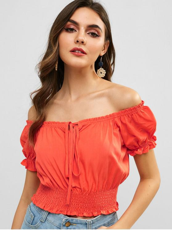 women ZAFUL Tied Smocked Off Shoulder Blouse - BASKET BALL ORANGE M