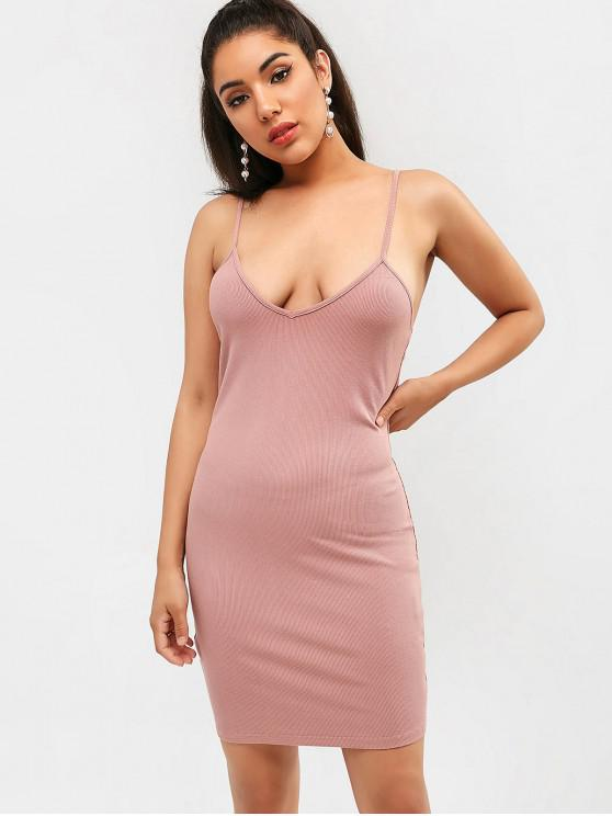 buy Ribbed Bodycon Dress - LIPSTICK PINK M