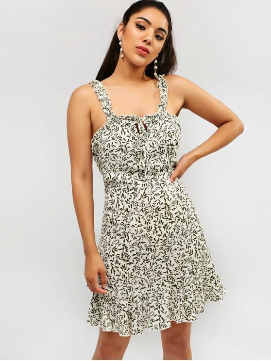 shop ZAFUL Frilled Leaf Print Flounce Dress - CAMOUFLAGE GREEN XL