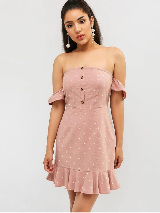 buy ZAFUL Star Off Shoulder Mermaid Dress - LIPSTICK PINK S