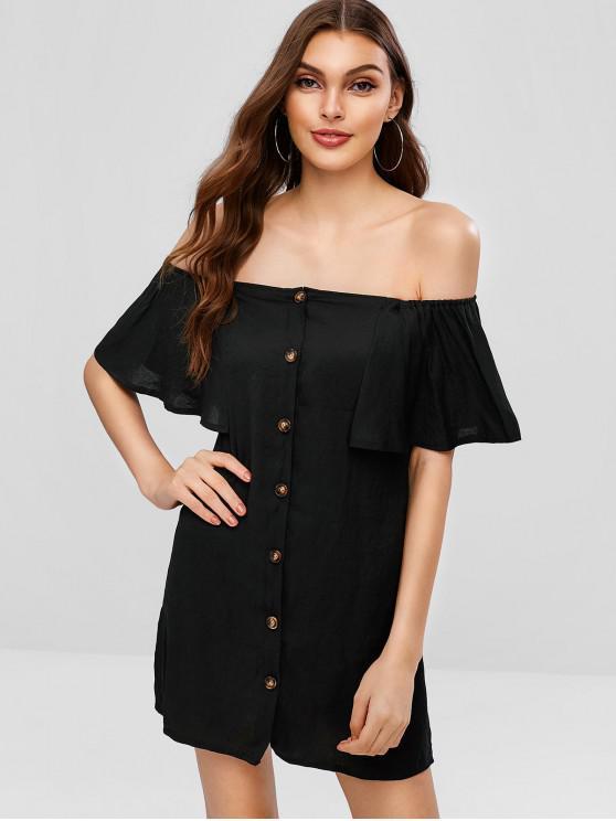 best ZAFUL Off Shoulder Button Up Mini Dress - BLACK L