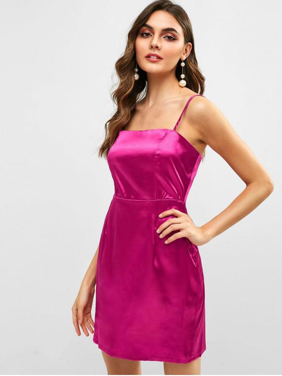 women's ZAFUL Back Zipper Satin Slip Dress - DARK CARNATION PINK M