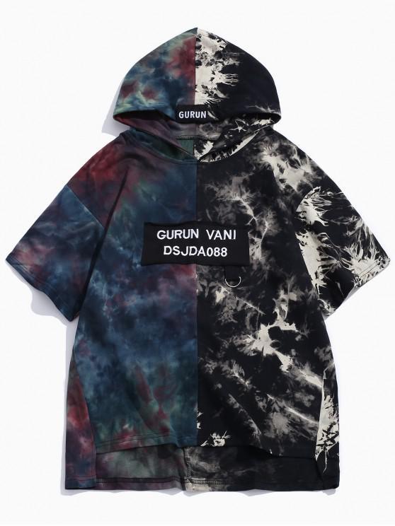 shop Ink Painting Print Asymmetric Hooded T-shirt - DARK FOREST GREEN M