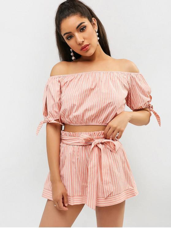 women ZAFUL Striped Off Shoulder Shorts Set - PINK ROSE L