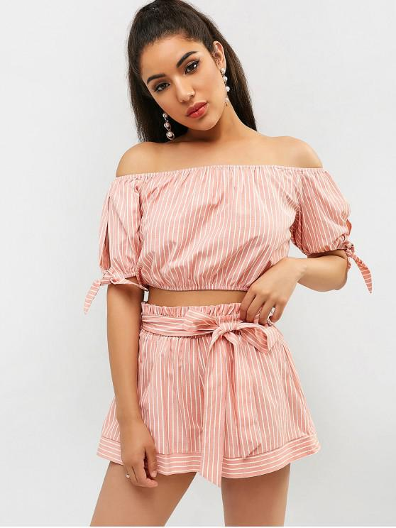 shop ZAFUL Striped Off Shoulder Shorts Set - PINK ROSE M