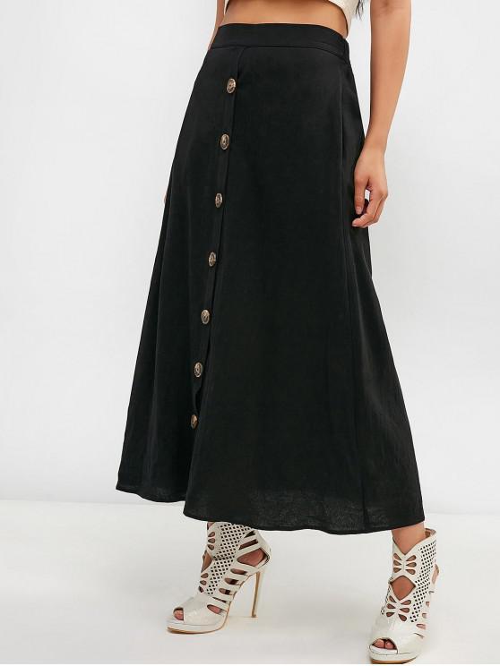 women ZAFUL Button Fly Pocket Skirt - BLACK S