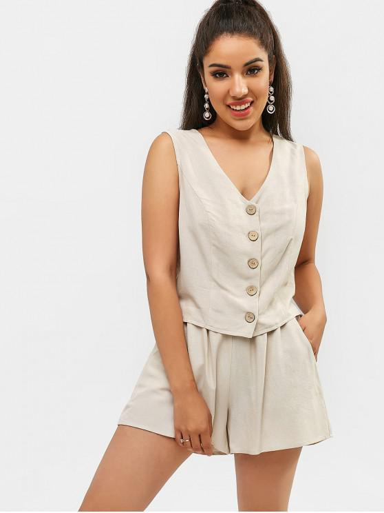 affordable ZAFUL Buckle Button Up Tank Top and Shorts Set - WARM WHITE L
