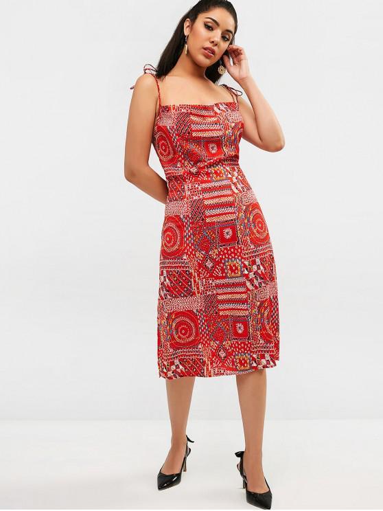 shop ZAFUL Open Back Halter Slit Printed Dress - RED M