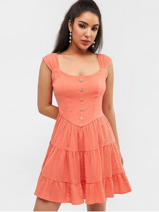 ZAFUL botones vestido de volantes - Naranja de Amanecer XL
