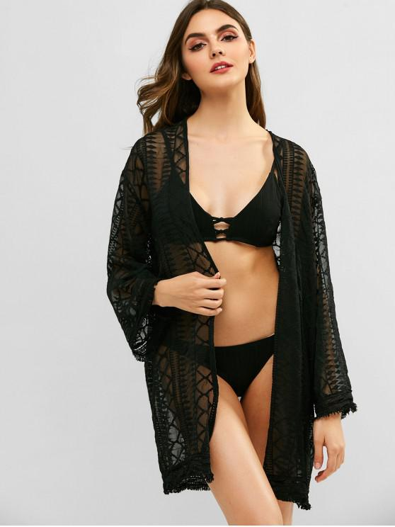 new Lace Frayed Hem Cover Up - BLACK ONE SIZE