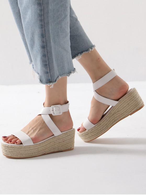 womens Cross Strap Espadrilles Platform Sandals - WHITE EU 36