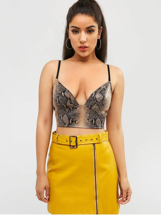 trendy ZAFUL Snakeskin Cropped Camisole - MULTI L
