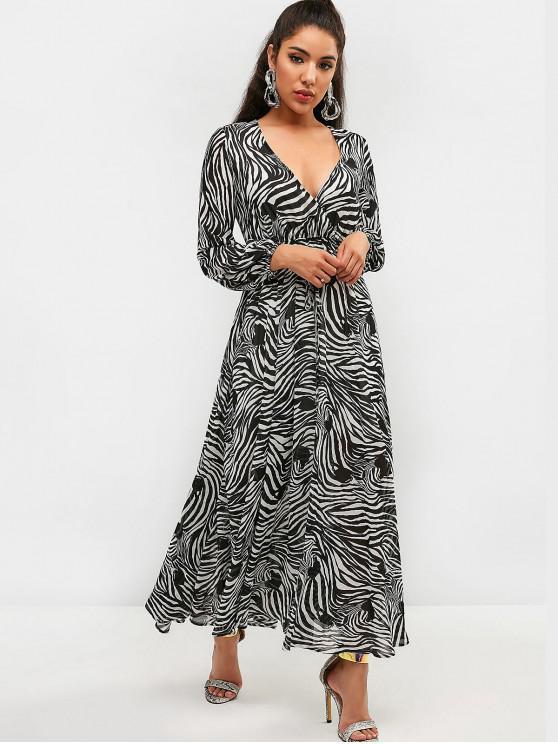 women ZAFUL Zebra Print Belted Maxi Dress - BLACK S
