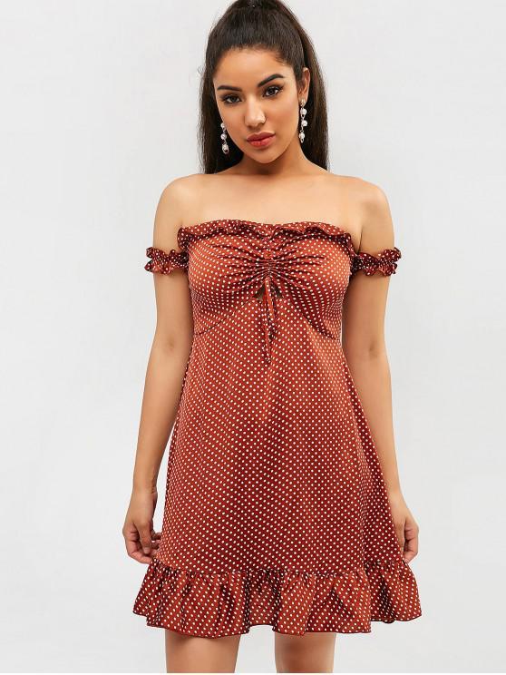 affordable ZAFUL Polka Dot Off Shoulder Ruffle Dress - BROWN M