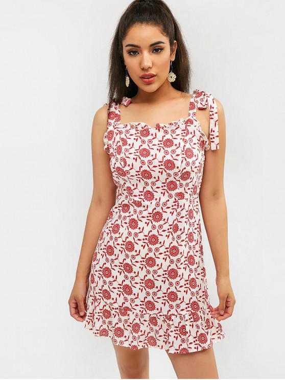 ZAFUL Tie Ruffle Floral Sundress - Rojo S