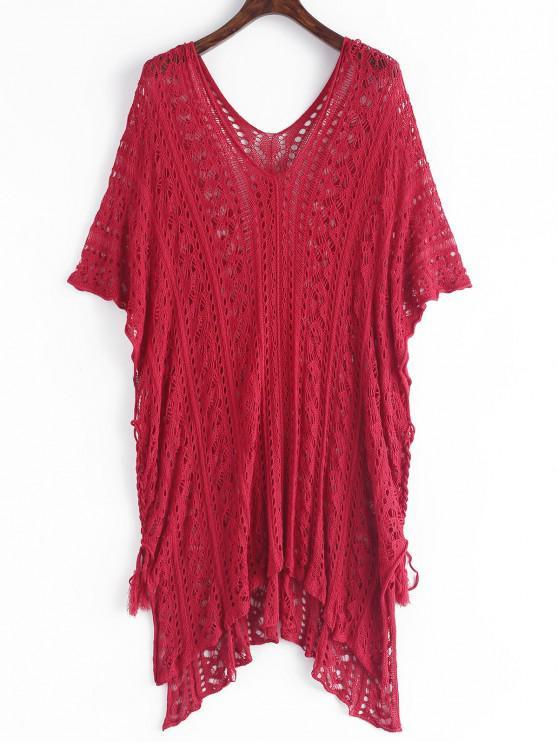 latest Crochet Slit Batwing Sleeve Tunic Dress - LAVA RED ONE SIZE