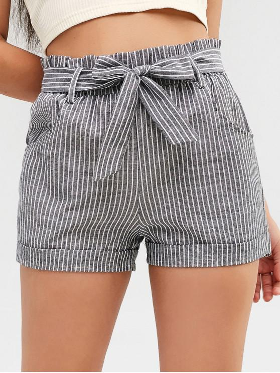 fancy Striped Belted Cuffed Shorts - GRAY M