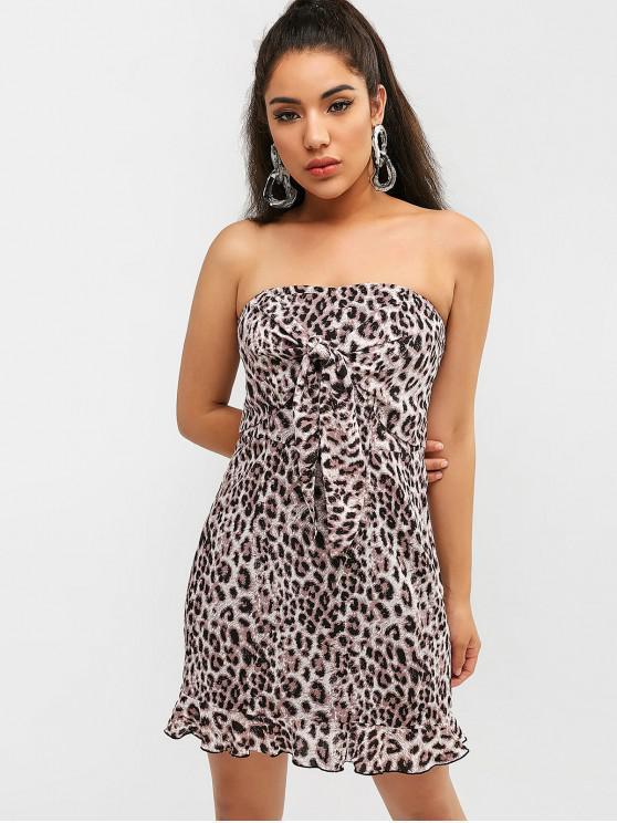 hot ZAFUL Leopard Ruffle Tied Bandeau Dress - LEOPARD L
