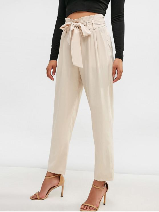 fancy Belted High Waisted Straight Pants - CHAMPAGNE M