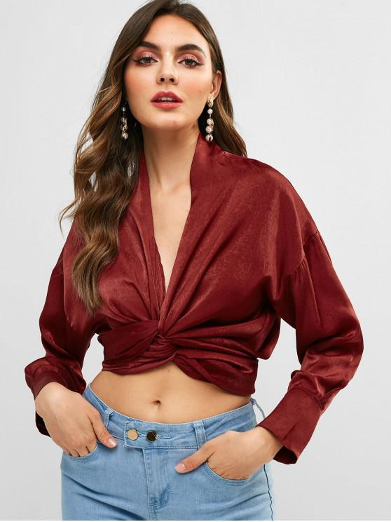 lady Flowing Crossover Wrap Tie Top - RED WINE ONE SIZE