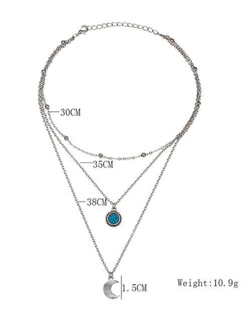 shop Layered Moon Faux Turquoise Necklace - SILVER  Mobile