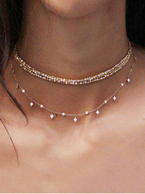fashion Layered Chain Choker Necklace - GOLD  Mobile