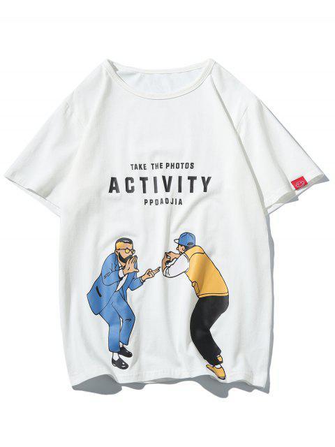 Camiseta con estampado gráfico de personajes - Blanco L Mobile