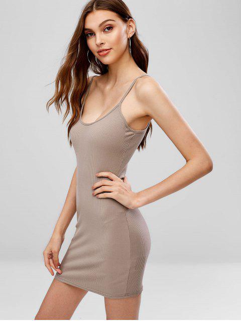 best Cami Ribbed Bodycon Mini Dress - DARK KHAKI M Mobile