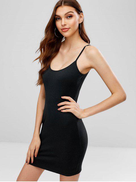 hot Cami Ribbed Bodycon Mini Dress - BLACK M Mobile
